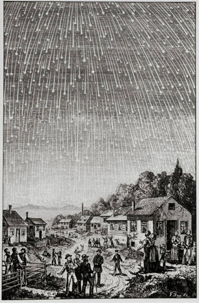Leonid Wall Art - Photograph - Historical Artwork Of Leonid Meteor Shower Of 1833 by Science Photo Library