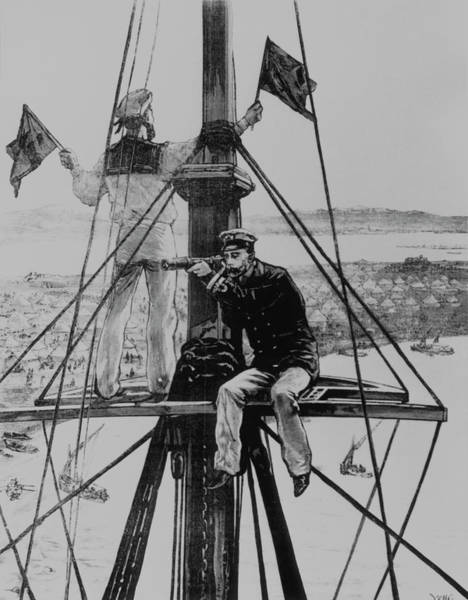 Wall Art - Photograph - Historical Artwork Of Semaphore Communication by Science Photo Library