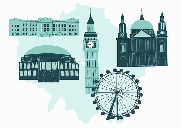 Potters Wheel Wall Art - Digital Art - Historical London Landmarks by Alice Potter