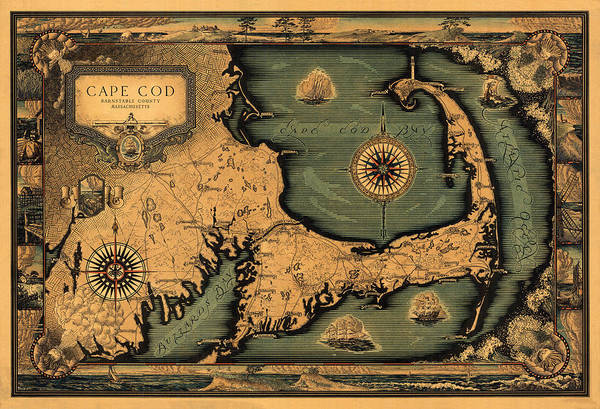 Cape Cod Photograph - Historical Map Of Cape Cod by Andrew Fare