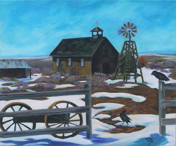 Church Yard Painting - History In The High Desert by Donna Drake