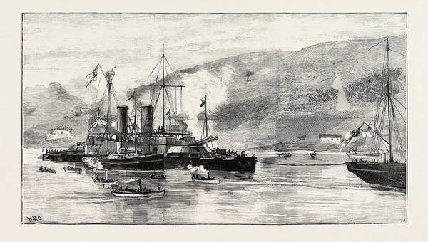 Galicia Drawing - H.m.s. Howe Being Towed Into Ferrol Harbour by Spanish School