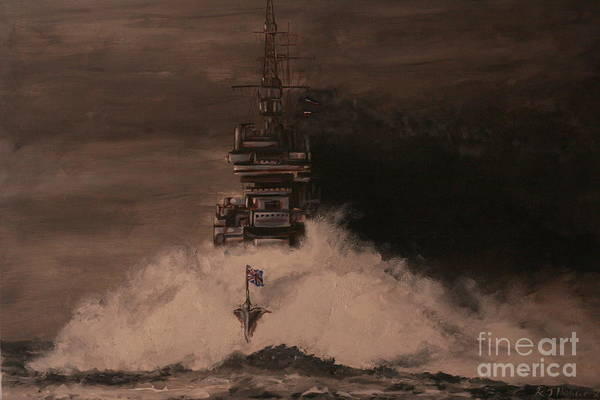 Battle Of The Atlantic Wall Art - Painting - Hms King George V 1943 by Richard John Holden RA