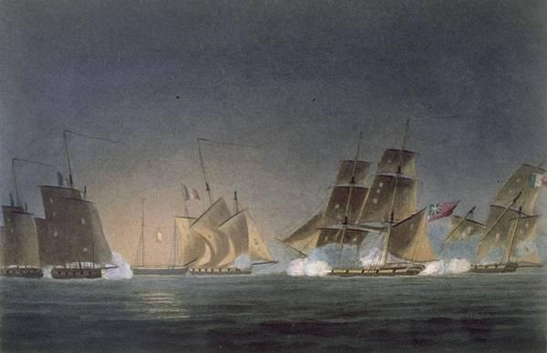 Warfare Drawing - Hms Rinaldo Engaging Four French by Thomas Whitcombe