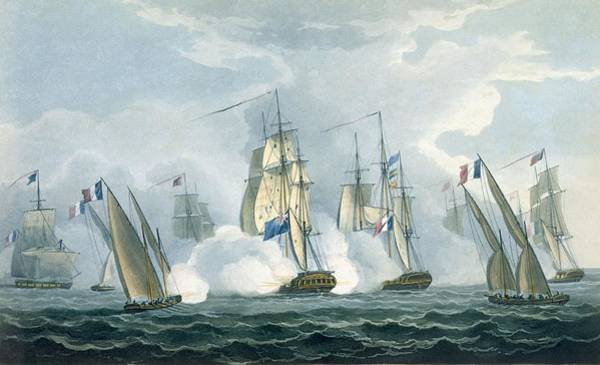 Row Drawing - Hms Sirius, Captain Rowse Engaging by Thomas Whitcombe