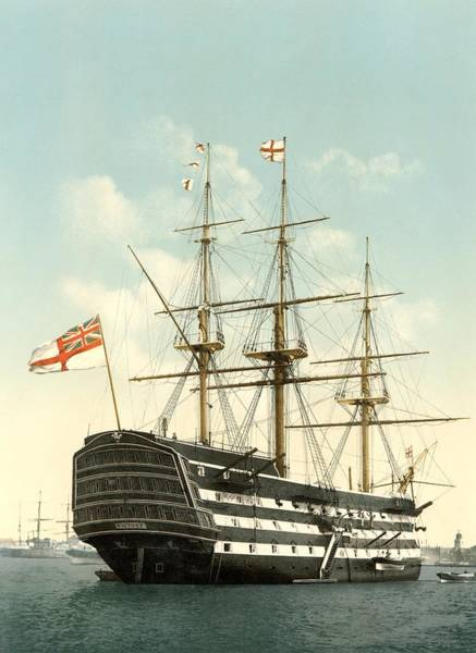 Wall Art - Photograph - Hms Victory, Portsmouth, 1890s by Science Photo Library