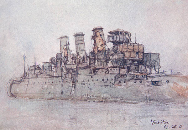 First Drawing - Hms Vindictive by Donald Maxwell
