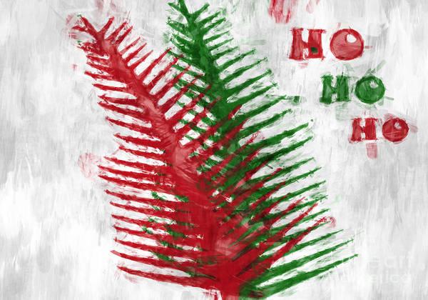 Wall Art - Digital Art - Ho Ho Ho Abstract - Christmas Holiday Card by Aimelle