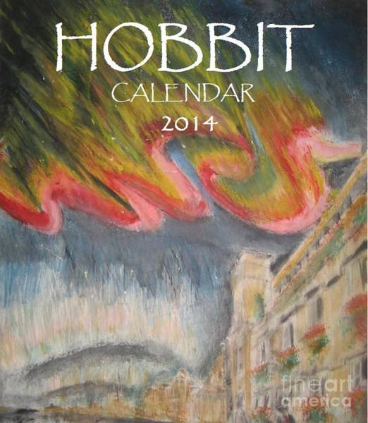 Smaug Painting - Hobbit Tolkien Persistence Of Imagination Calendar Cover by Glen McDonald