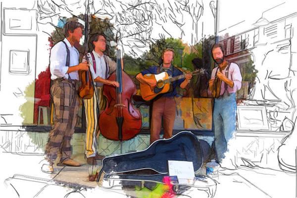 Asheville Mixed Media - Hobo Busker Band by John Haldane
