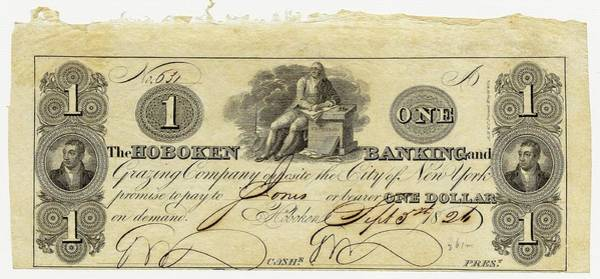 Us Bank Photograph - Hoboken Bank Note by American Philosophical Society