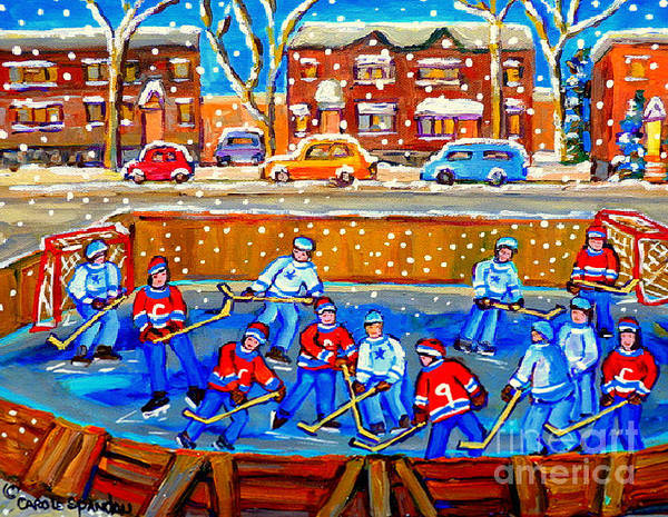Painting - Hockey Art Collectible Cards And Prints Snowy Day  Neighborhood Rinks Verdun Montreal Art C Spandau by Carole Spandau