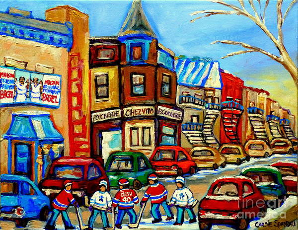 Painting - Hockey Art Montreal Winter Street Scene Painting Chez Vito Boucherie And Fairmount Bagel by Carole Spandau