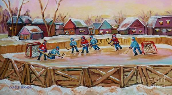 Painting - Hockey Game-outdoor Hockey -beautiful Canadian Winter Landscape-hockey Heroes-carole Spandau by Carole Spandau
