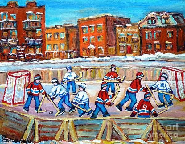 Painting - Hockey In The City Ndg Outdoor Hockey Rink Neighborhood Kids Bring Montreal Memories To Life by Carole Spandau