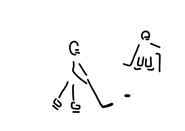 Lineart Drawing - Hockey Player by Lineamentum