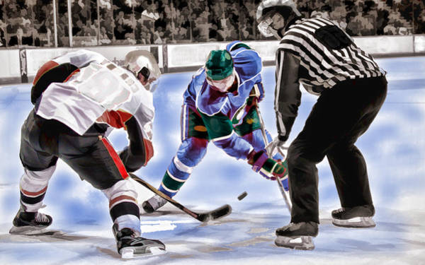 Arena Painting - Hockey Players And Referee In Bold Watercolor by Elaine Plesser