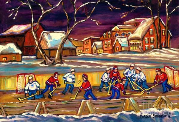 Painting - Hockey Practice In The Village Canadian Winter Night Scene Quebec Landscape Carole Spandau by Carole Spandau
