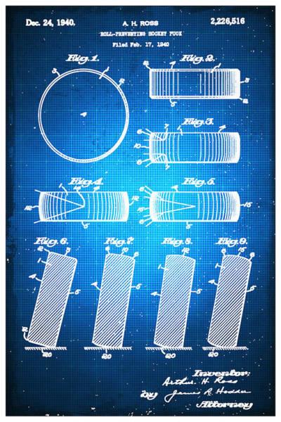 Mixed Media - Hockey Puck Patent Blueprint Drawing by Tony Rubino