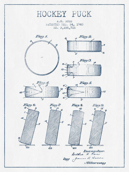 Hockey Sticks Digital Art - Hockey Puck Patent Drawing From 1940 - Blue Ink by Aged Pixel