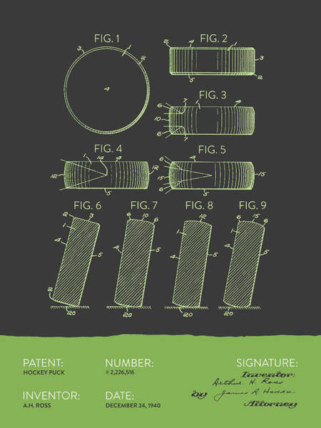 National Hockey League Wall Art - Digital Art - Hockey Puck Patent From 1940 - Gray Green by Aged Pixel