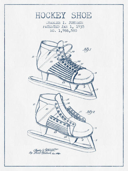 Hockey Sticks Digital Art - Hockey Shoe Patent Drawing From 1935- Blue Ink by Aged Pixel