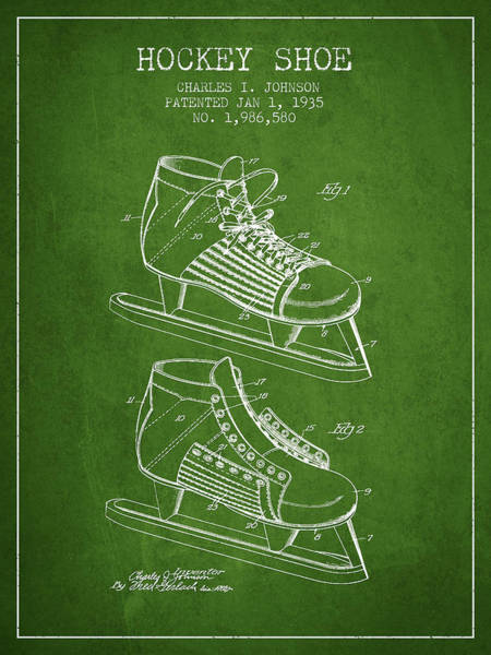 Hockey Sticks Digital Art - Hockey Shoe Patent Drawing From 1935 - Green by Aged Pixel