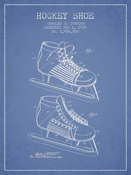 Hockey Sticks Digital Art - Hockey Shoe Patent Drawing From 1935 - Light Blue by Aged Pixel