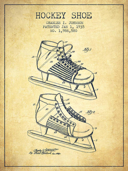 Hockey Sticks Digital Art - Hockey Shoe Patent Drawing From 1935 - Vintage by Aged Pixel