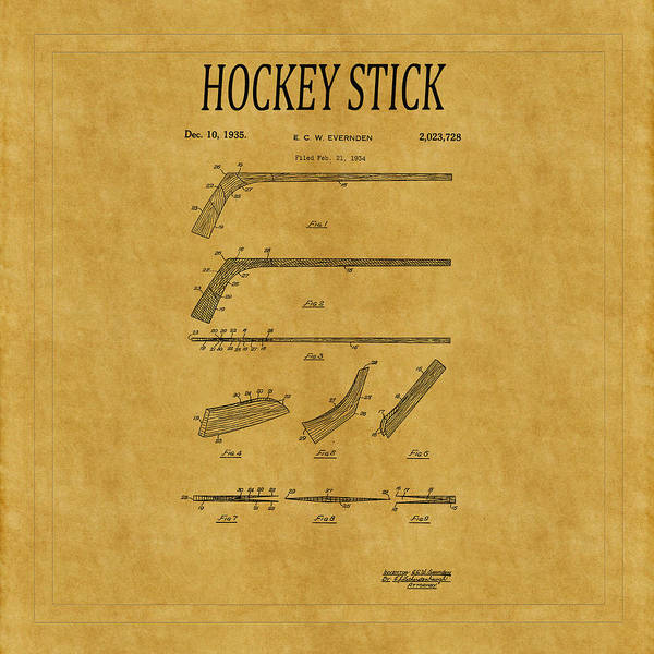 Photograph - Hockey Stick Patent 1 by Andrew Fare