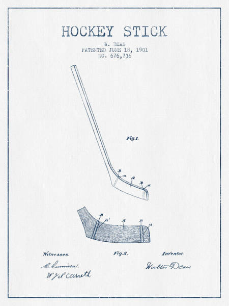 Hockey Sticks Digital Art - Hockey Stick Patent Drawing From 1901 - Blue Ink by Aged Pixel