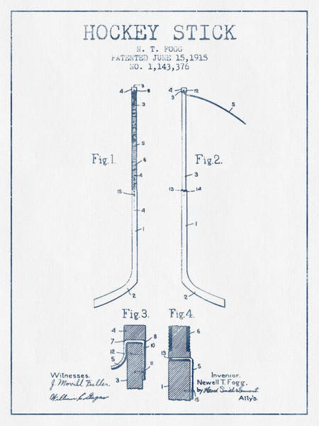 Hockey Sticks Digital Art - Hockey Stick Patent Drawing From 1915 - Blue Ink by Aged Pixel