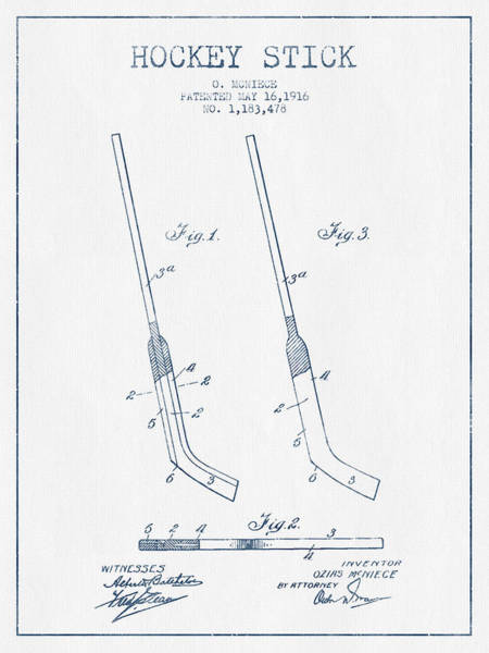 Hockey Sticks Digital Art - Hockey Stick Patent Drawing From 1916 - Blue Ink by Aged Pixel