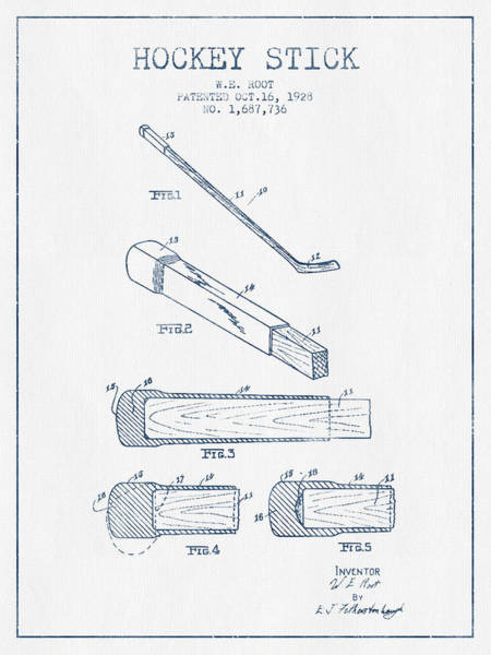 Hockey Sticks Digital Art - Hockey Stick Patent Drawing From 1928 - Blue Ink by Aged Pixel
