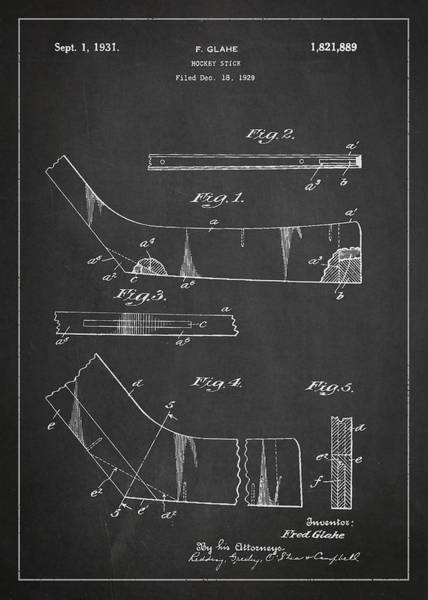 Hockey Sticks Digital Art - Hockey Stick Patent Drawing From 1929 by Aged Pixel