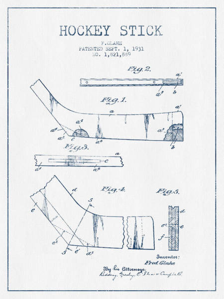 Hockey Sticks Digital Art - Hockey Stick Patent Drawing From 1931 - Blue Ink by Aged Pixel