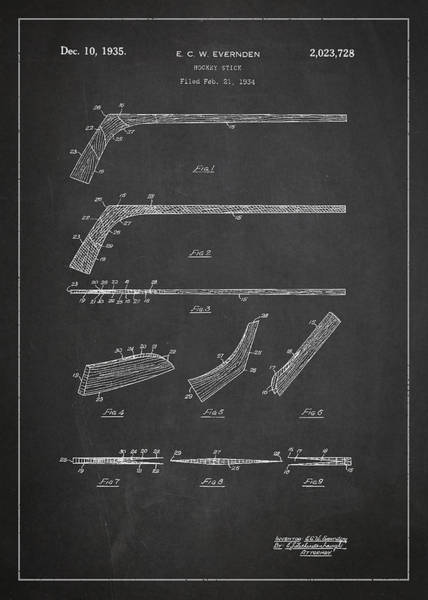 Exclusive Rights Wall Art - Digital Art - Hockey Stick Patent Drawing From 1934 by Aged Pixel