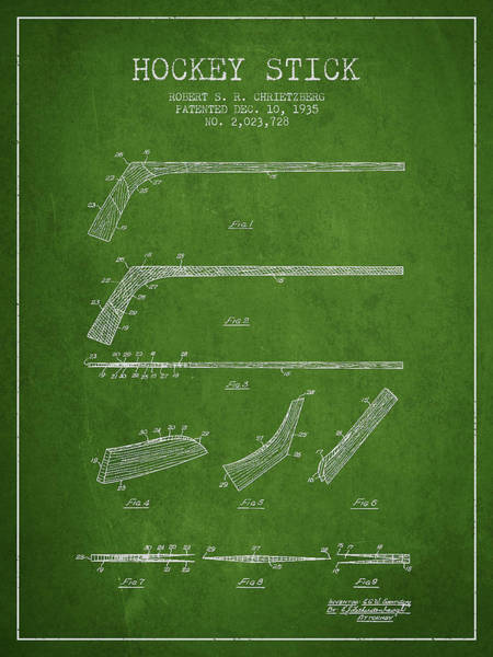 Hockey Sticks Digital Art - Hockey Stick Patent Drawing From 1935 by Aged Pixel