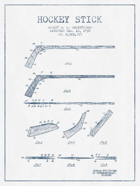 Hockey Sticks Digital Art - Hockey Stick Patent Drawing From 1935 - Blue Ink by Aged Pixel