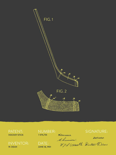 National Hockey League Wall Art - Digital Art - Hockey Stick Patent From 1901 - Gray Yellow by Aged Pixel