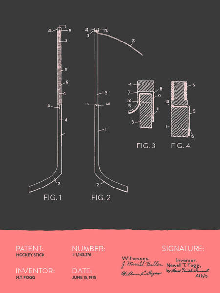 Hockey Sticks Digital Art - Hockey Stick Patent From 1915 - Gray Salmon by Aged Pixel