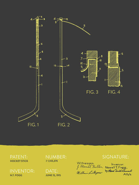 Hockey Sticks Digital Art - Hockey Stick Patent From 1915 - Gray Yellow by Aged Pixel
