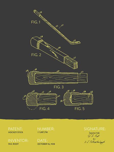 National Hockey League Wall Art - Digital Art - Hockey Stick Patent From 1928 - Gray Yellow by Aged Pixel