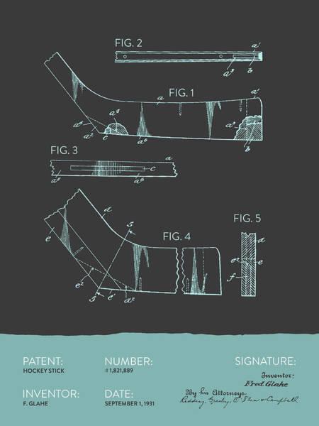 National Hockey League Wall Art - Digital Art - Hockey Stick Patent From 1931 - Gray Blue by Aged Pixel