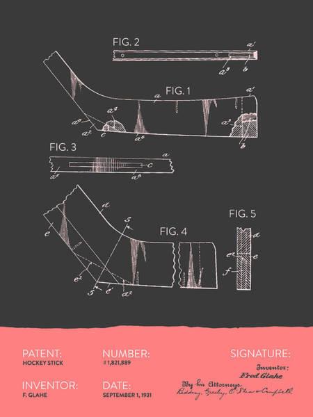 National Hockey League Wall Art - Digital Art - Hockey Stick Patent From 1931 - Gray Salmon by Aged Pixel