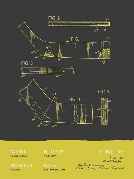 National Hockey League Wall Art - Digital Art - Hockey Stick Patent From 1931 - Gray Yellow by Aged Pixel