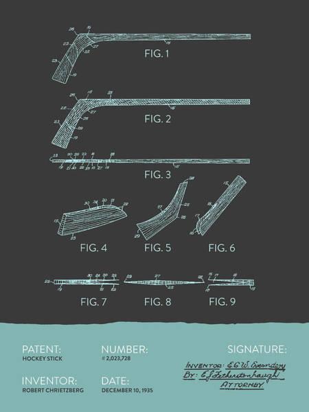 National Hockey League Wall Art - Digital Art - Hockey Stick Patent From 1935 - Gray Blue by Aged Pixel