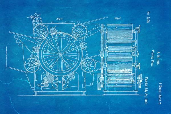 Printer Photograph - Hoe Printing Press Patent Art 2 1847 Blueprint by Ian Monk