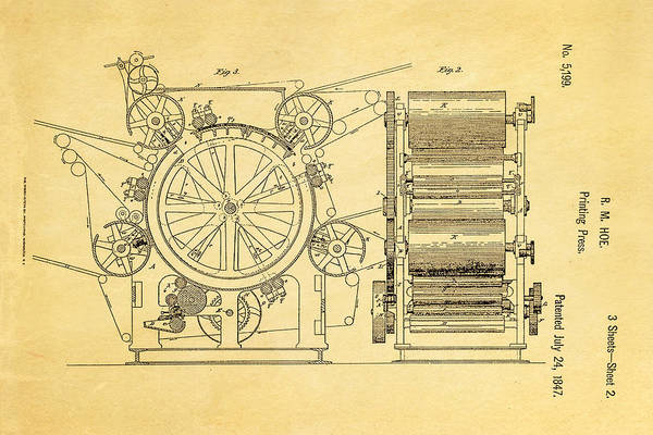 Printer Photograph - Hoe Printing Press Patent Art 2 1847  by Ian Monk