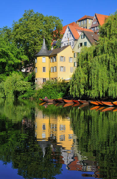 Photograph - Hoelderlinturm Hoelderlin Tower Water Reflection Tuebingen Germany by Matthias Hauser